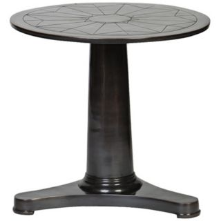 Bronze Tapered Pedestal Accent Table   #Y3277