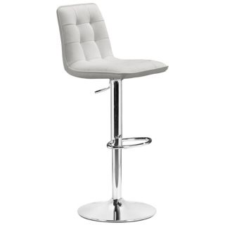Zuo Oxygen White Adjustable Height Bar or Counter Stool   #M7309