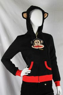 SM Juniors   Julius Monkey Black Zip Up Fun Julius Ears Hoodie NWT