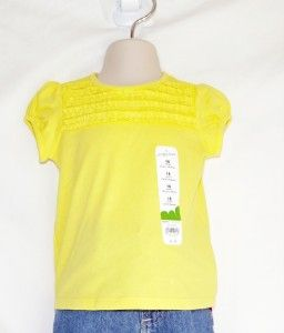 Jumping Beans Girls Yellow Ruched Short Sleeve Tee T Shirt Sizes 12 18