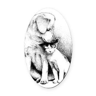 Cat and Dog Oval Car Magnet