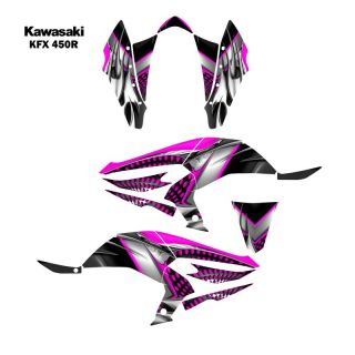 Kawasaki KFX450R ATV Graphic Decal Sticker Kit 7777 Hot Pink