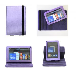 Casenuuk Purple Kindle Fire Dual View Rotating Detachable PU Leather