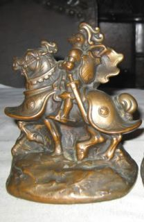 ARMOR BRONZE KNIGHT ON HORSE WAR WARRIOR ART STATUE SCULPTURE BOOKENDS