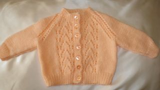 Hand Knitted Baby Cardigan Peach Lacy Panel 3 6mths New