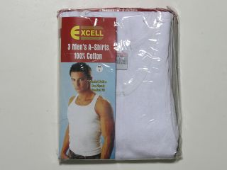 Mens White 100% Cotton A Shirts T Shirts Ribbed Tank Undershirts