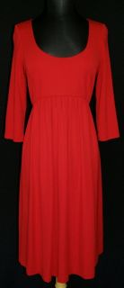 Lafayette 148 Red Empire Stretch Jersey Dress M L Exposed Back Zipper
