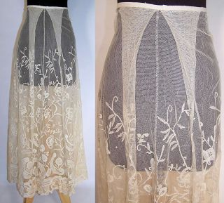 Antique Duchesse Brussels Bobbin Lace Applique Net Wedding Skirt Vtg