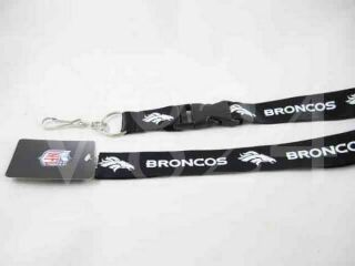 NFL Denver Broncos Lanyard Keychain Key Chain Black White