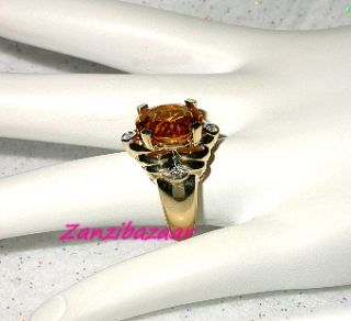 Laura Ramsey 14k Yellow Gold Citrine Diamond Designer Ring