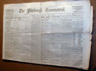 Newspaper Civil War Final Battle Before Lee Surrender to Grant