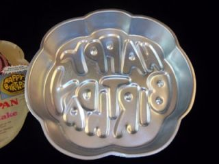 Birthday Cake Pan Jello Mold 1980 Crazy Bubble Letters Kids Vintage