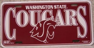 NCAA Aluminum License Plate Washington State University Cougars New