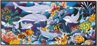 * UNDERWATER SEA SPECTACULAR SEA LIFE CORAL FISH 17x37 GLASS PANEL