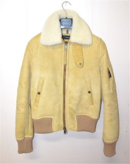 Dsquared 2 Shearling Leather Aviator Bomber Jacket Flight 46 Fur Coat