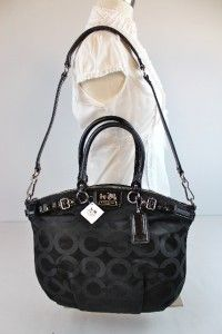 Madison Op Art Sateen Lindsey Black Satchel Shoulder Bag 18649