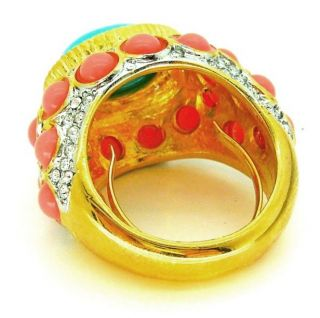 Kenneth Jay Lane KJL Coral Turquoise Cab Classic Ring
