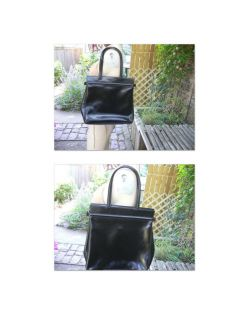 Vintage Longchamp Black Large Leather Bag Tote