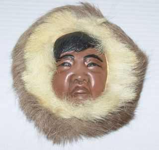 Sculpted Alaskan Eskimo Face Wall Hanging Artist Lonnie Temple