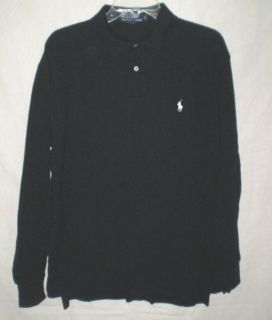 Mens Ralph Lauren Polo Black Longsleeve Pique Polo Shirt White Pony L