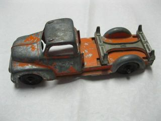 Vintage Hubley Die Cast Metal Toy Logging Truck Orange USA