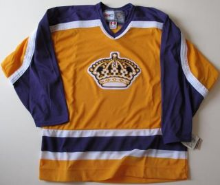 Authentic CCM Los Angeles Kings Gold Throwback Jersey Sz Large