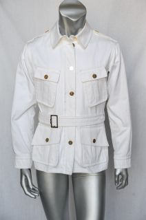 Yves Saint Laurent Rive Gauche Mens White Cotton Belted Military Coat