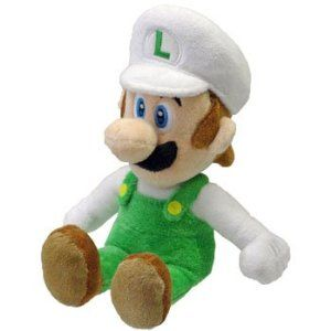 Super Mario Bros Plush Toy Fire Luigi 22cm San EI Official Merchandise