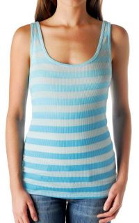 New Lucky Brand Jeans Womens Top Tank Ombre Stripe Rib Shirt Blue Sz M
