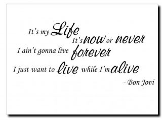 Bon Jovi Its My Life Song Lyrics Wall Art Vinyl Decal Sticker Wall