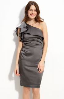 Maggy London Ruffled One Shoulder Stretch Satin Dress 6