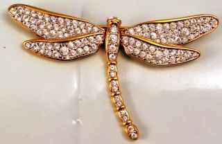 Signed Swarovski Large Gold Tone Crystal Dragonfly Pin Brooch