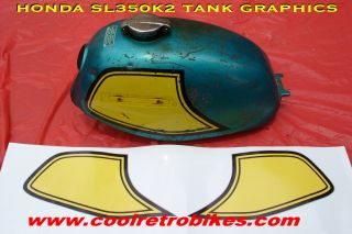 Honda SL350K2 SL 350 Fuel Gas Tank Panel Stripes Decals Graphics Kit