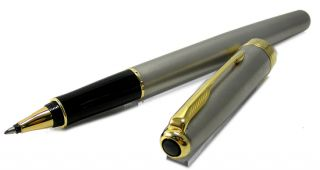 Parker Sonnet Stainless Steel Matt Gold Trim Rollerball Pen