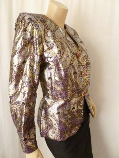 Vintage Paisley Brocade Blazer Jacket Top Purple Gold Metallic Sz 6 s