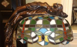 Art Deco Nouveau Bronze Nude Naked Lady Real Tiffany Glass Dragonfly
