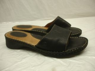 Born Melyssa Black Leather Slides Sandals Shoes Clog Womens Sz 8 Open