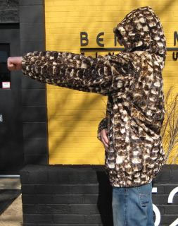 NEW Mens White/Black Bleached Sheared Mink Sections Parka. The hood is