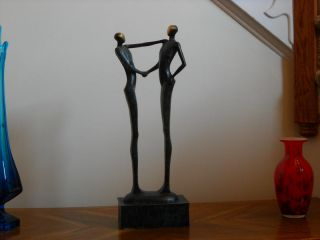 Fine Brass Crafted Modern Abstract Style Art Deco Friends Statue