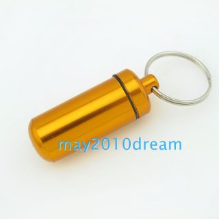 Mini Aluminum Pill Box Case Bottle Holder Container Keychain