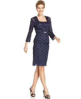 Alex Evenings Petite Dress and Jacket, Sleeveless Sequin Lace
