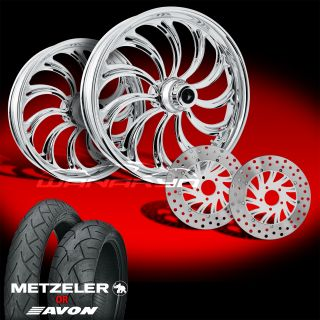 Calypso Chrome 21 Wheels Tires Dual Rotors for 2009 13 Harley Touring