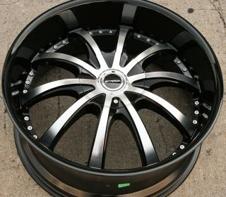 SOLE 202 22 BLACK RIMS WHEELS MAXIMA ALTIMA MURANO / 22 X 8.5 5H +40