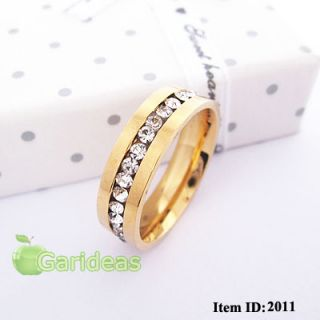 Mens Gold Stainless Steel Diamond Ring Item ID 2011 US Size 6 7 8 9