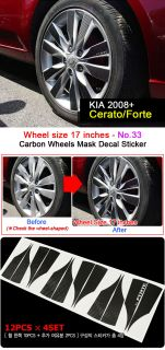 Kia 2008 Cerato Forte 17inches Carbon Wheels Mask Decal Sticker No 33