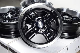 15 4x100 4x114 3 Matte Black Rims Honda Low Offset MR2 Civic Lancer 4