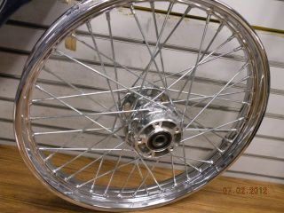 FRONT SPOKE WHEEL 21 HARLEY SOFTAIL DYNA WIDEGLIDE 00^ 3/4 CHROME HUB