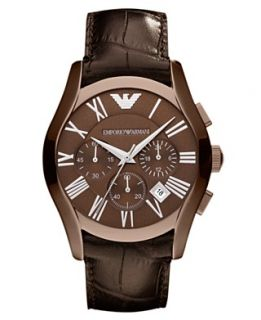 Emporio Armani Watch, Mens Chronograph Brown Croco Leather Strap 42mm