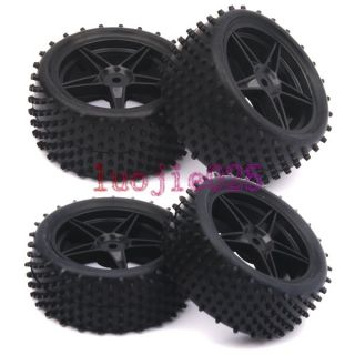 RC 110 Off Road Buggy Front &Rear Rubber Tyre Tire Wheel Rim black