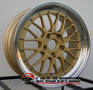 18 LM Staggered Gold Machined Lip Wheels Rims Fit Acura NSX TSX